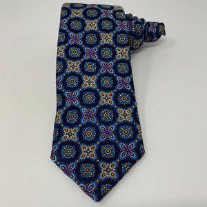 Robert Talbott Mens Tie Floral Geometric Blue New